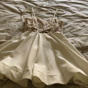 Luxxel Dresses - Adorable white dress, lace detailing along bust